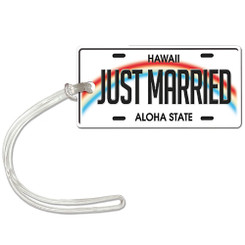 Die Cut ID Luggage Tag Hawaii Aloha License to Wed
