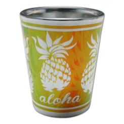 Hawaii Shot Glass Electroplated Aloha Pineapples