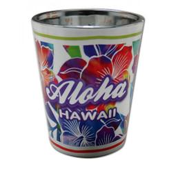 Hawaii Shot Glass Electroplated Hibiscus Aloha