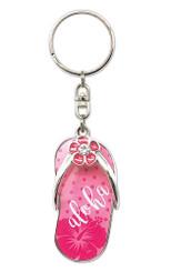 Hawaiiana Keychains Metal Slipper Aloha Hibiscus Pink