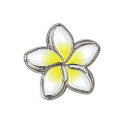 Hawaiiana Decal Silver & White Sticker Plumeria