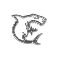 Hawaiiana Decal Silver Sticker 3D Shark