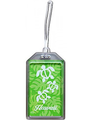 Hawaii Luggage ID Tag Honu Turtle Monstera Green