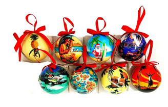 8 Pack Glossy Art Decorated Ornaments Hawaiian Style
