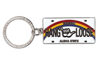 Hawaiiana Keychain Metal License Plate Hang Loose