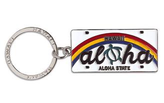 Hawaiiana Keychain Metal License Plate Aloha Honu Turtle