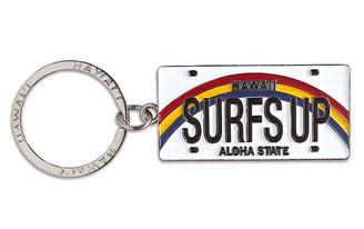 Hawaiiana Keychain Metal License Plate Surfs Up
