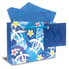 Hawaiian Mini Gift Bag 6 Pack Honu Turtle Floral