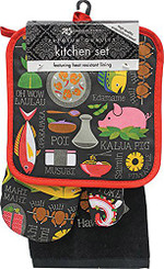3 Piece Kitchen Set Dish Towel & Potholder & Oven Mitt Taste Of Hawaii