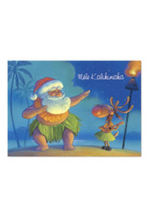 Santa Dances Hula Hawaiian Christmas Cards Box of 12