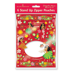 Aloha Goody Zipper Gift Bag Pouches 6 Per Pack Hula Honey Reds