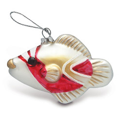 Hawaiian Tropical Humu Fish Christmas Glass Ornament
