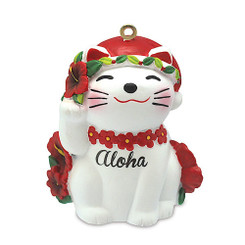 Asian Maneki Neko Good Luck Cat Aloha Hawaiian Ornament