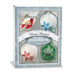 Glass Mini Ocean Holiday Hawaiian Ornaments Set Of 4