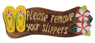 Hawaiian Style Wood Sign Please Remove Your Shoes Slippers Plumeria Yellow
