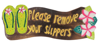 Hawaiian Style Wood Sign Please Remove Your Shoes Slippers Plumeria Green
