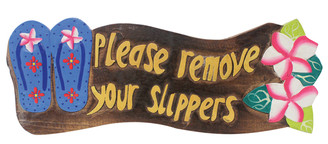 Hawaiian Style Wood Sign Please Remove Your Shoes Slippers Plumeria Blue