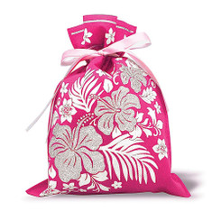 Hawaiian Drawstring Large Gift Bags 3 Pack Hibiscus Floral