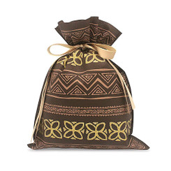 Hawaiian Drawstring Large Gift Bags 3 Pack Tapa Brown