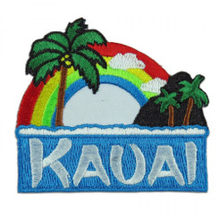 Hawaii I Love Kauai Rainbow Palm Iron-On Embroidery Applique Patch