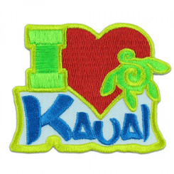 Hawaii I Love Kauai Iron-On Embroidery Applique Patch