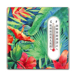 Hawaiian Style Thermometer Ceramic Magnets Hibiscus Garden