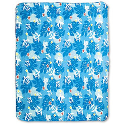 Polar Fleece Travel Blanket Honu Floral Blue