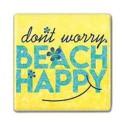 Square Ceramic Magnet Don't Worry Beach Happy