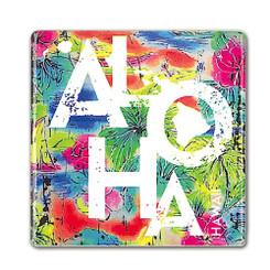Square Ceramic Magnet Tropical Aloha