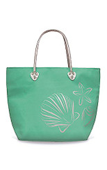 Beach Tote Bag With Glittering Silver Foil Icon Hawaiian Sea Shells Teal