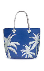 Beach Tote Bag With Glittering Silver Foil Icon Hawaiian Palms Blue
