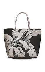 Beach Tote Bag With Glittering Silver Foil Icon Hawaiian Banana Leaf Black