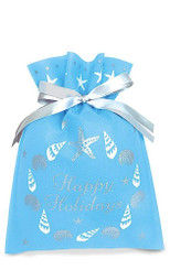 Hawaiian Drawstring Small Holiday Gift Bags 3 Pack Seashell Wreath
