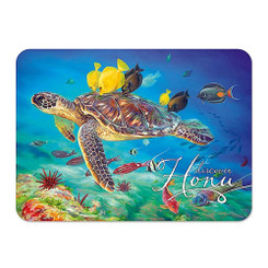 Hawaii Die-Cut Tin Magnet Honu Turtle Kisses