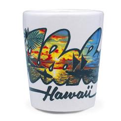 Hawaiian Ceramic Shot Glass Aloha