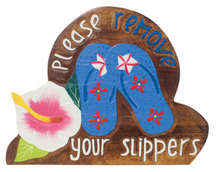 Hawaiian Style Wood Sign Please Remove Your Shoes Slippers Hibiscus Blue