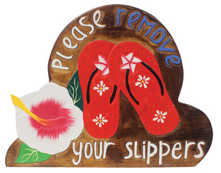 Hawaiian Style Wood Sign Please Remove Your Shoes Slippers Hibiscus Red