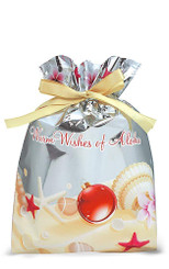Hawaiian Drawstring Large Holiday Gift Bags 3 Pack Holiday Seashells