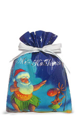 Hawaiian Drawstring Small Holiday Gift Bags 3 Pack Santa Dances Hula