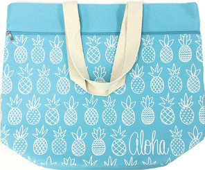 Large Beach Tote Bag Pineapple Sunday Blue