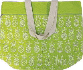 Large Beach Tote Bag Pineapple Sunday Green