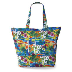 Hawaiian Deluxe Foldable Travel Tote Bag Tropical Aloha