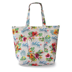 Hawaiian Deluxe Foldable Travel Tote Bag Aloha Floral