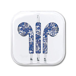 Hawaiian Style Ear Buds Hibiscus Floral Blue