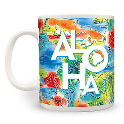 4 Pack Hawaiian Coffee Mugs 14 oz. Tropical Aloha