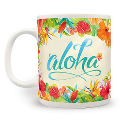 2 Pack Hawaiian Coffee Mugs 14 oz. Aloha Floral