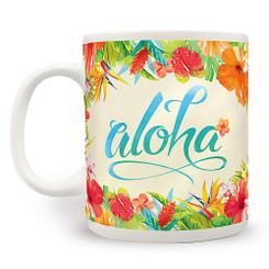 2 Pack Hawaiian Coffee Mugs 14 oz. Aloha Floral