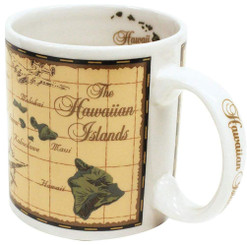 Hawaiian Stoneware Coffee Mug 20 oz. Island Chain Map