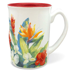 Hawaii Coffee Mug Embossed Tropical Garden