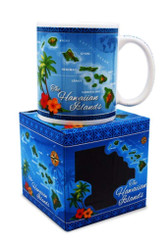 10 oz. Hawaiian Mug Map Blue